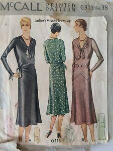 Vintage 1920s McCall Sewing Pattern No. 6313 Ladies & Misses Drop Waist Dress 38