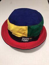 VINTAGE 90s BENETTON FORMULA ONE F1 SCHUMACHER BUCKET HAT CAP - 2in1 REVERSIBLE