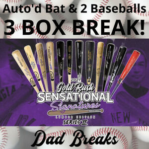ATLANTA BRAVES 2021 Gold Rush Signed Bat + 2 TriStar Baseballs: 3 BOX BREAK