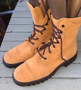 Clark's boots yellow suede leather trekking  UK 6 EUR 39i