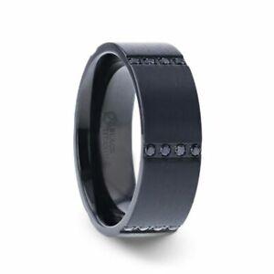 Black Titanium Flat Brushed Band with 6 Sets of 4 Black Sapphires - 8mm
