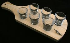 Diver Set of 6 Shot Glasses with Wooden Paddle Tray Holder 105