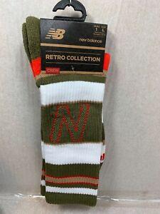 MEN'S / WOMEN New Balance RETRO Collective Crew Socks WHITE/KHAKI 9-12.5 MENS
