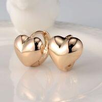 Women Lovely Heart Earrings 18k Yellow Gold Filled Charm Hoop Huggie GF Jewelry