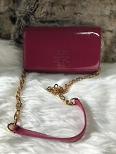 892b39b6239 NWT TORY BURCH Charlie Chain Wallet CROSSBODY bag In Hot Pink Patent Leather