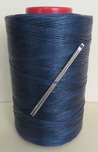 RITZA TIGRE WAXED HAND SEWING THREAD 1mm LEATHER  & 2 NEEDLES -  BLUE JK14