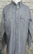 H Bar C RanchWear Long Tail Men's Shirt Western Wear Gray Size 16.5 - 34
