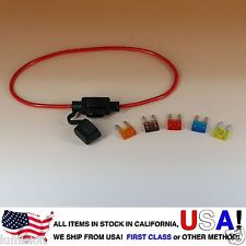 NEW MINI BLADE Style APM ATM Inline 16AWG Fuse Holder (Water Proof) + FUSE SET