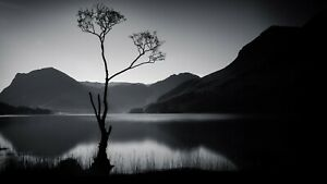 Black And White Lake Mountains Landscape Wall Art Large Poster & Canvas Pictures