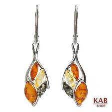 MIX BALTIC AMBER STERLING SILVER 925 JEWELLERY DANGLE EARRINGS. KAB-238