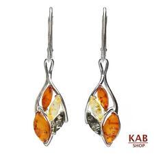 Baltic Amber Sterling Silver 925 Jewellery Dangle Earrings. Kab-238