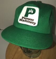 VTG PIONEER MACHINERY 80s Green Trucker hat Cap Snapback USA K-Products PATCH