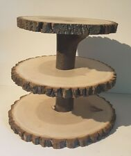 Rustic wedding Cupcake Stand, Wood Slice Treat Display, Large Cake Stand, Slab