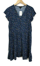 Banana Republic Factory Tiered Fit and Flare Dress Women's XL Blue Confetti