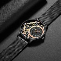 Herren-Armbanduhr Imitation Mechanische Oberfläche Quarz-Uhr mit Meshband