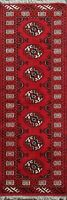Traditional Hand-Knotted Bokhara Runner Rug Wool Geometric Oriental Carpet 2'x6'