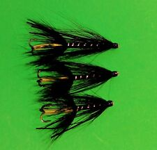 Salmon Sewin/ sea trout BLACK WITH SILVER RIB TUBE FLIES  X 3 .