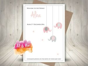 Handmade Personalised New Baby Daughter Girl Card: Pink & Grey Elephant Mobile