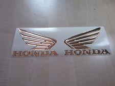coppia adesivi stickers resinati 3d ali honda oro cromo 135 mm hornet cbr rr
