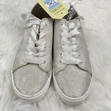 d171f87af TOMS Women's Lenox Sneakers Size 6.5 Ivory Glitter Mesh Wedding