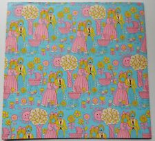 NOS Vintage Gift Wrap Paper 1960's Mod Couple Pink Baby Shower 2 full sheets