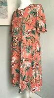 POEM OLIVER BONAS Coral Tropical Hibiscus Print Swing Dress Sz 12 Relaxed Summer