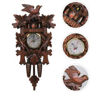 Vintage Wood Cuckoo Clock Wall Decor Cartoon Bird House Swing Clock Decoration