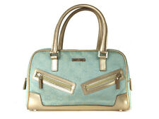 Auth GUCCI GG Pattern Canvas, Leather Light Blue, Gold Hand Bag GH9320L