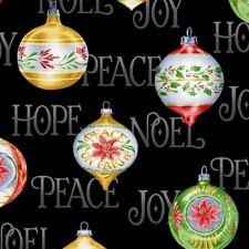 Christmas Elegance Fabric - Holiday Words & Bulbs on Black - Henry Glass YARD