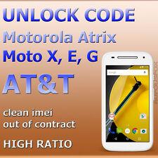 AT&T Unlock Code ALL Motorola Atrix 2 4G HD V3 Moto X G E 1st 2nd Gen Clean Imei