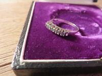 Klassischer 585 14 K Gold Ring Weißgold Smaragd Grün Modern Schlicht Retro