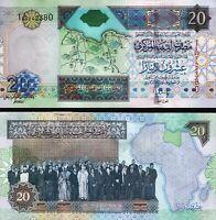 Libya 20 Dinars 2002, UNC, P-67b, Sign 10, Muammer Kaddafi