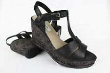 New Clarks Narrative Women's Adesha T-Strap Wedge Sandals Size 9m Black