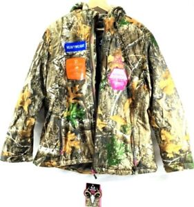 REALTREE WOMENS HEAVYWEIGHT INSULATED CAMO PARKA WATERPROOF WINDPROOF SIZE L NEW