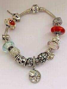 Genuine Pandora Charm Bracelet 19.5cm with Silver Charms & Clip #B/10
