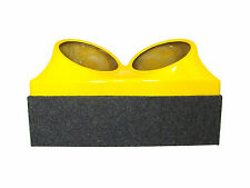 Double dual 10 fiberglass sub woofer speaker box enclosure carpeted case YELLOW