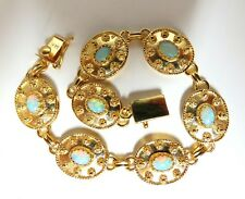 4.00ct Natural Australian Opal Beaded Gilt Bracelet 14 Karat