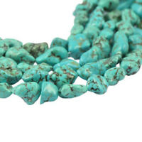 Natural Turquoise 7X12MM 100% Real Gemstone Nugget Loose Beads Strand 15""