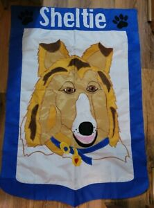 """Large 43×31"""" Outdoor Flag (Sheltie)  By Evergreen"""