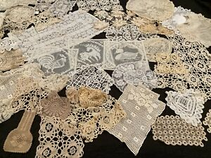 Lot of 47 Doilies Handmade Crocheted Machine Made