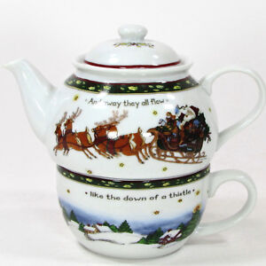 Portmeirion Studio A CHRISTMAS STORY 12oz Tea For One Set Pot Mug Susan Winget