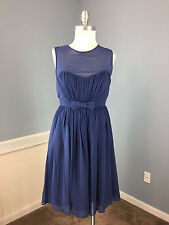 Essere S 4 Navy Blue 100% Silk Cocktail Party Dress Excellent Fit Flare bow
