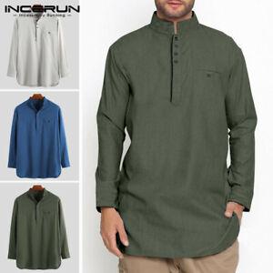 INCERUN Men's Kurta Shirt Collar Long Sleeve Shirt Kaftan Tunic Formal Dress Top