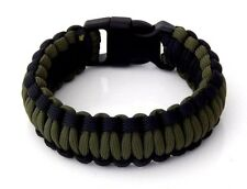 Premium 550 Paracord Survival Bracelet OD Green And Black 5/8 Plastic Buckle