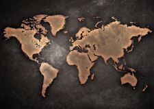 VINTAGE WORLD MAP BLACK A3 ART PRINT PHOTO POSTER GZ6172