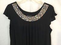 I. N. Studio Embellished Sleeveless Black Tunic Dress size 12