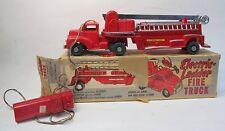 "1950s ELECTRIC LADDER FIRE TRUCK  General Molds & Plastic 16.5"" bat-op w/box"