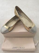 Jimmy Choo Wrena Gold Silver Crystal Flat Pump Shoes Size UK 7/ 40