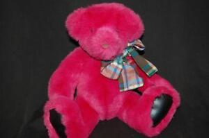 "Fushia Teddy Bear Pink Leather Like Paws Plaid Bow Gund Plush 10"" Toy Lovey"