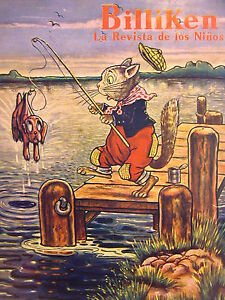 Billiken Cover FISHING CAT CATCHES d DOG on HOOK 1935 Spanish Matted Print